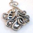 Steampunk OCTOPUS Nautical  Pocket Watch Mechanical Necklace Silver Steam Punk