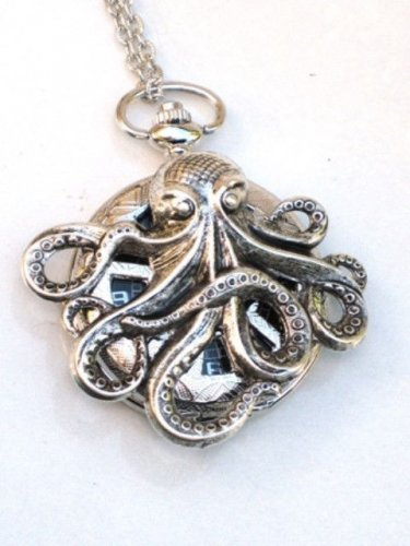 Steampunk OCTOPUS Nautical  Pocket Watch Mechanical Necklace Silver Steam Punk
