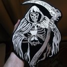 Reaper with Scythe Embroidered Iron on Biker Patch - 9x12 inch