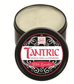 TANTRIC SOY MASSAGE CANDLE WITH PHEROMONES WHITE LAVENDER 4 OZ Item Number:SE2254101