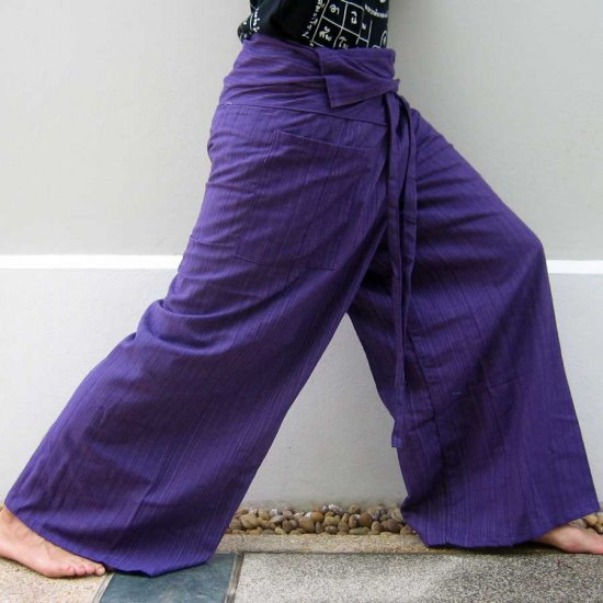 New Thai XXXL (3X) Cotton Drill Fisherman Yoga Pants PURPLE Stripe
