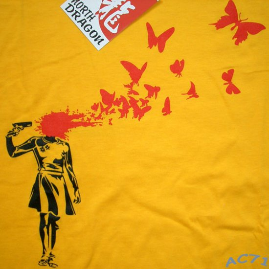 NORTH DRAGON BUTTERFLY SUICIDE Punk Rock T-Shirt L Large Yellow