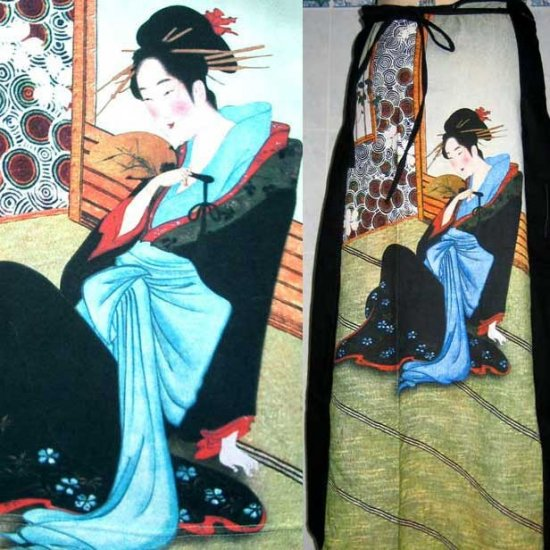 Japanese MERRY GEISHA Hand Print Ukiyoe Art Freesize Cotton Wrap Skirt S-XL FREE SHIPPING