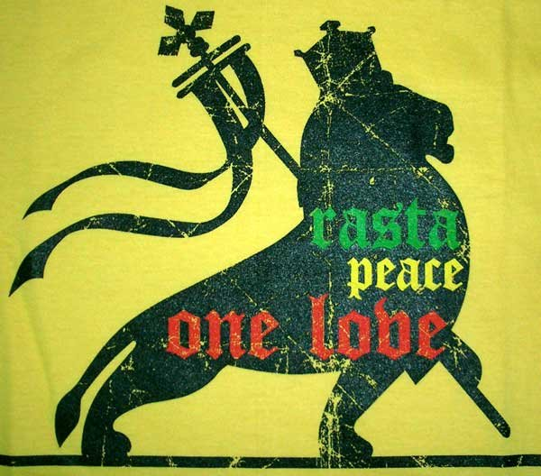 RASTA PEACE ONE LOVE LION of Judah Roots REGGAE T-Shirt L Large Yellow