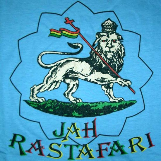 JAH RASTAFARI LION of JUDAH Roots Rasta Irie REGGAE T-Shirt L Large Light Blue