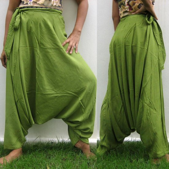 Thai Hmong Hilltribe Pants FREESIZE Rayon OLIVE GREEN Free Ship!