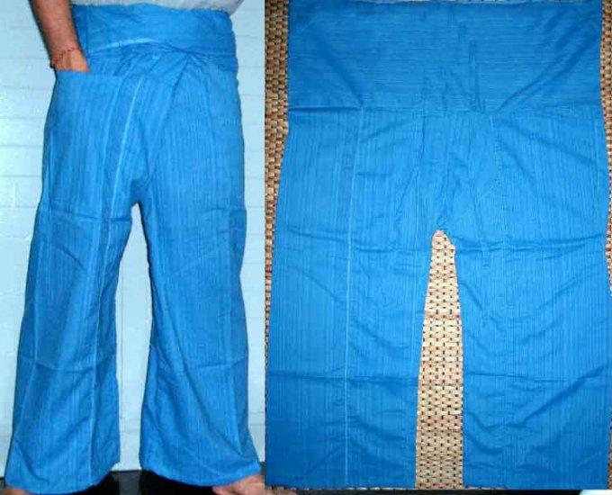 Thai Cotton Drill FREESIZE Fisherman Yoga Pants SKY BLUE Stripe