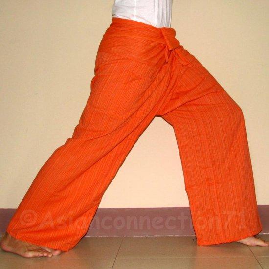 Thai Fisherman Pants Cotton Drill FREESIZE Casual Asian Yoga Trousers ORANGE Stripe