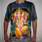 LORD GANESH Hindu Ganapati God Fine Art Hand Print T Shirt MEN'S Size L Large