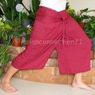 Thai XXL Fisherman Capri SHORT Yoga Pants Burgundy Red Rayon