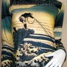 FISHERMAN Japanese Ukiyoe Print Long Sleeve Art T Shirt L
