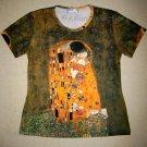 THE KISS Gustav Klimt Cap Sleeve Fine Art Print T Shirt Misses L Large