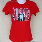 BEER FOR BRAIN Cap Sleeve Cisse Party Disco Rave T-shirt Misses S Small Red