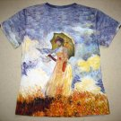 Monet WOMAN with PARASOL Fine Art Print Cap Sleeve T Shirt Misses S Small