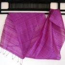 Thai Handwoven Pure Silk Fabric Scarf PURPLE GRAPE Siam Thailand Textile Shawl