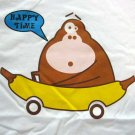 HAPPY TIME Banana Monkey CISSE Disco Party Rave T-shirt Slim Fit Asian XL White