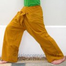 Thai Fisherman Yoga Pants 280 gram BUDDHA GOLD Saffron Cotton FREESIZE