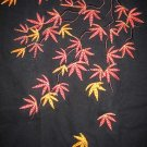 Japanese Autumn MAPLE LEAVES Embroidered T-Shirt XL Blk