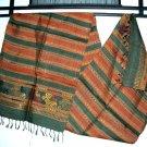 Laotian Rustic Khit Silk Fabric Scarf Thai Laos Art