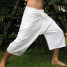 Thai Cotton Fisherman Capri SHORTS Yoga Pants FREESIZE Natural White Dance Beach Casual Trousers