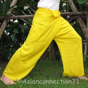 Thai Fisherman Pants Yoga Beach Dance Trousers FREESIZE Rayon YELLOW