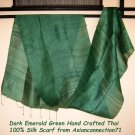 Thai Dark EMERALD GREEN Handwoven Raw Silk Fabric Scarf Shawl Direct from Thailand