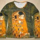 THE KISS Gustav Klimt Long Sleeve Fine Art Print T Shirt Misses XL