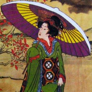 UTAMARO Ukiyoe Japan Geisha LONG SLEEVE Fine Art Print T-Shirt Misses L Large