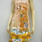 EMBRACE Gustav Klimt New Hand Print Fine Art Dress Misses Size L 12-14