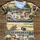 JAPAN Usagi FOLKLORE Japanese UKIYOE Art Print T Shirt Misses L Large