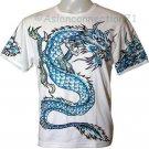 BLUE DRAGON Short Sleeve Irezumi Biker Tattoo T-Shirt L Large
