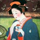 GEISHA w/ Tea Japan Hand Print Cap Sleeve Art T Shirt M