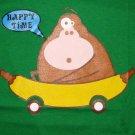 HAPPY TIME Banana Monkey CISSE Disco Party Rave T-shirt Slim Fit Asian L Large Green
