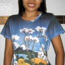 Hokusai FUGAKU SANJUROKEI Japanese Ukiyoe Art T Shirt Misses M Medium Short Sleeve