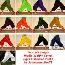 2 Pair Thai Cotton Yoga Fisherman Capri SHORT Pants FREESIZE Casual Asian Trousers