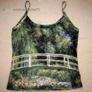 Monet WATER LILY POND New Hand Printed Art Tank Top L