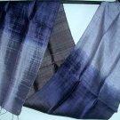 Thai Handcrafted Silk Fabric Scarf Lavendar Blue Black