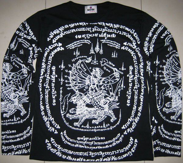 Thai hanuman singha long sleeve sak yant magic tattoo for Tattoo shops hiring front desk