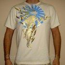 RONIN Vintage Gold Foil KOI Print T-Shirt M Cream