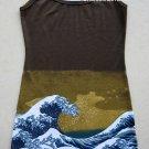 GIANT WAVE Hokusai UKIYOE Japan Art Print Dress Misses Size S Small 4-6