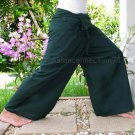 Thai XXXL Plus Size Cotton Fisherman Pants Yoga Trousers SOLID GREEN