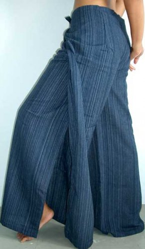ae699329df8 PLUS SIZE Thai Cotton Wrap Pants XXXL DARK BLUE Stripe Yoga ...