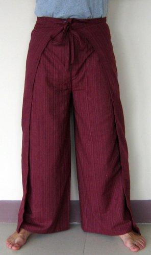 PLUS SIZE Thai Cotton Wrap Yoga Pants XXXL BURGUNDY New
