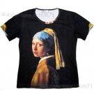 Girl with Pearl Earring New Vermeer Fine Art Print Short Sleeve T Shirt Misses M