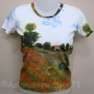 POPPIES Claude Monet Fine Art Print Cap Sleeve T shirt Misses Size S Small