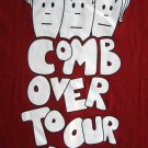 COMB OVER TO OUR PLACE Fun New Punk T-shirt Slim L RED