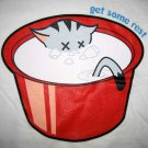 GET SOME REST Sleepy Kitty CISSE T-shirt Slim Fit Asian L Large White