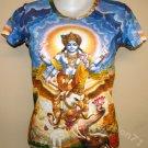 VISHNU GARUDA Gajendra Hindu Art Print T Shirt Misses L Large Short Sleeve