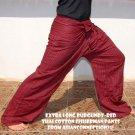 Thai EXTRA LONG Cotton Fisherman Yoga Pants Striped Burgundy Red