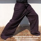 Thai EXTRA LONG Cotton Fisherman Pants Striped Mangosteen Maroon Yoga Dance Beach Trousers